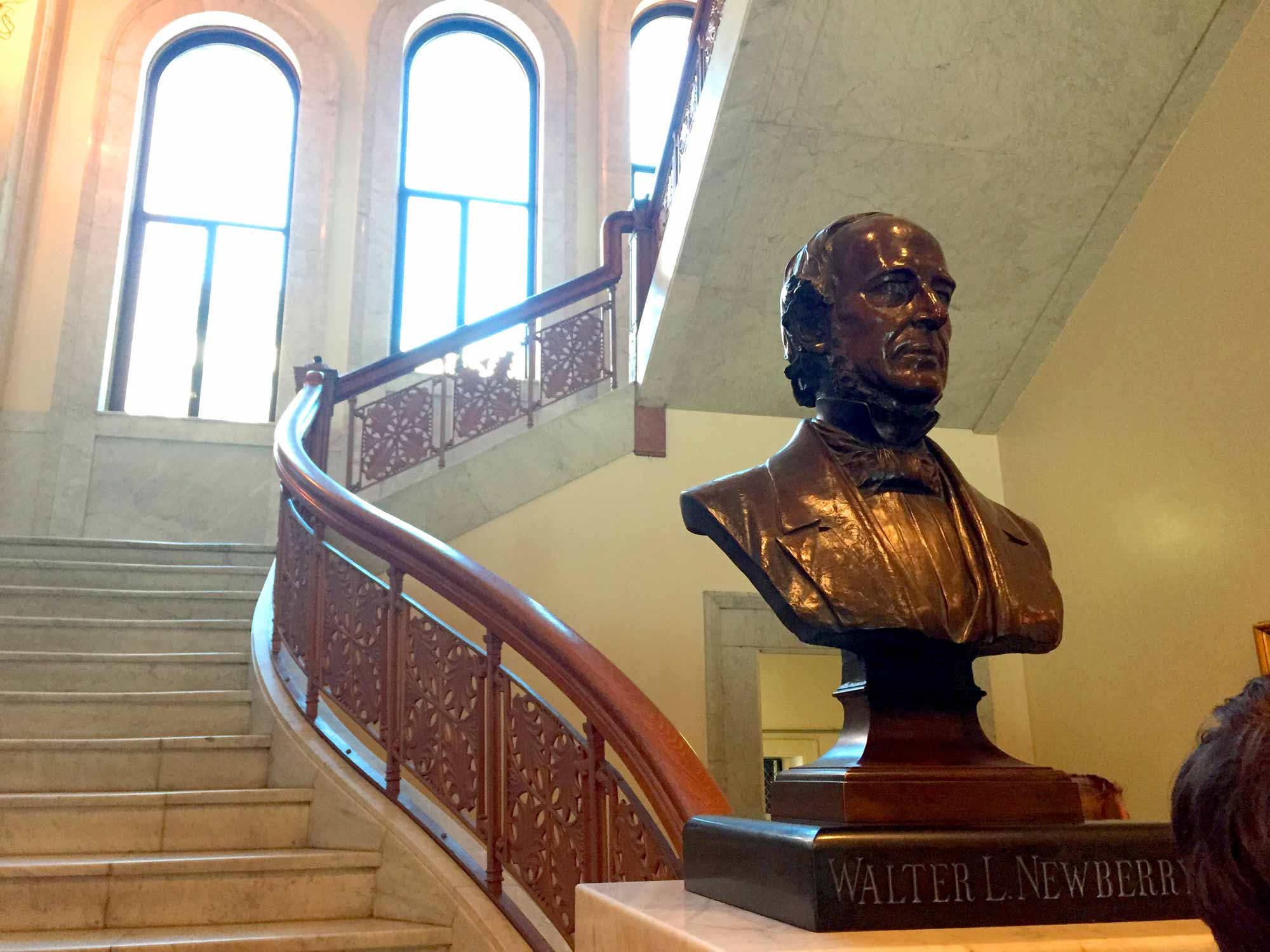 A photo of the Walter Loomis Newberry bust.